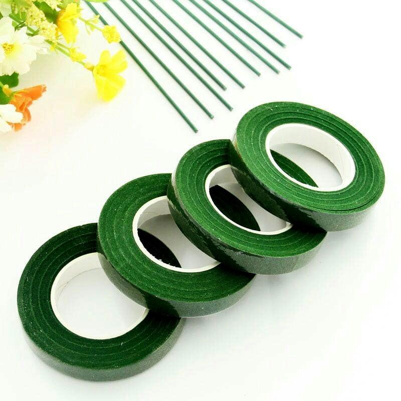 30 ярдов, 12 мм, Цветочная оформление, Корсажная петля, искусственный цветок с тычинками, Цветочная зеленая нейлоновая лента, товары для цвето...