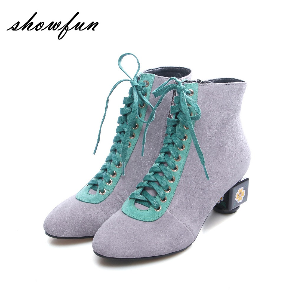 Womens Genuine Suede Leather Lace-up Thick High Heel Autumn Ankle Boots Brand Designer Mix Color Elegant Ladies Retro Shoes Hot