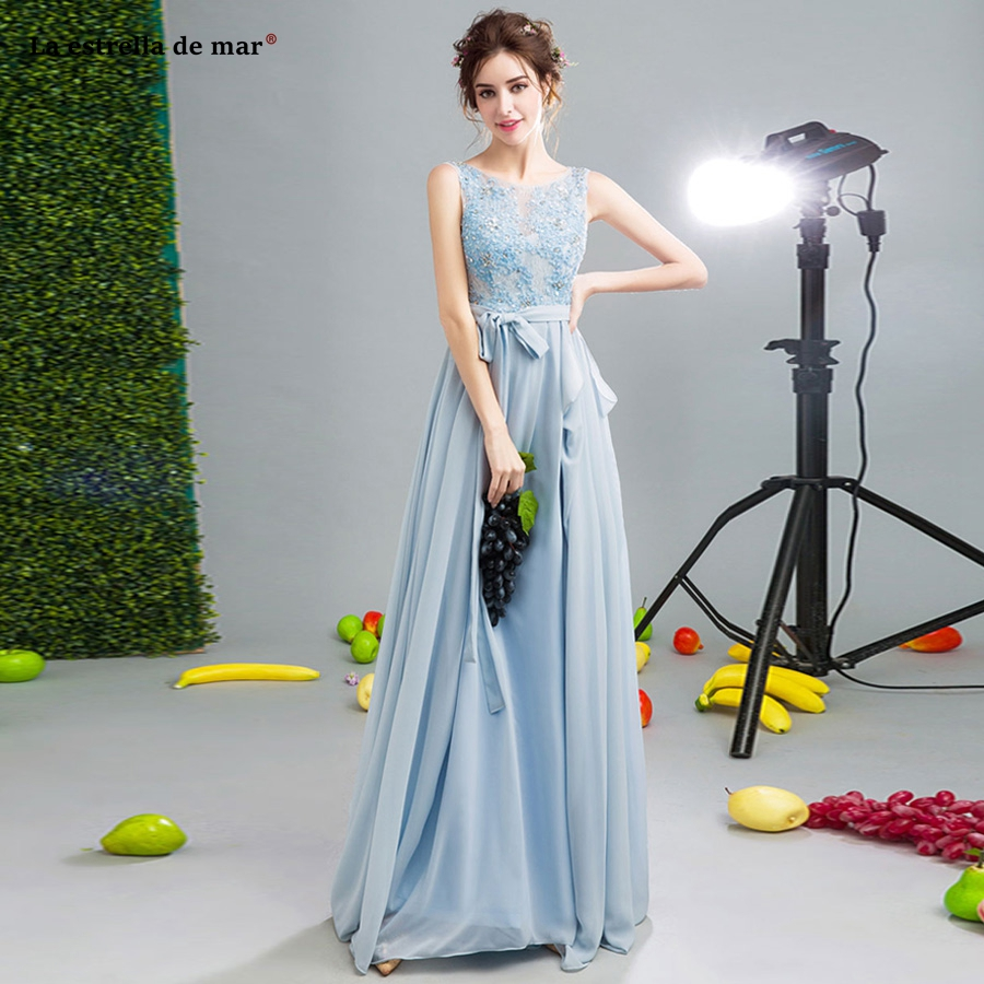Vestidos invitada boda mujer 2019 new Scoop neck lace beaded chiffon A Line gray blue   bridesmaid     dress   long wedding guest gown