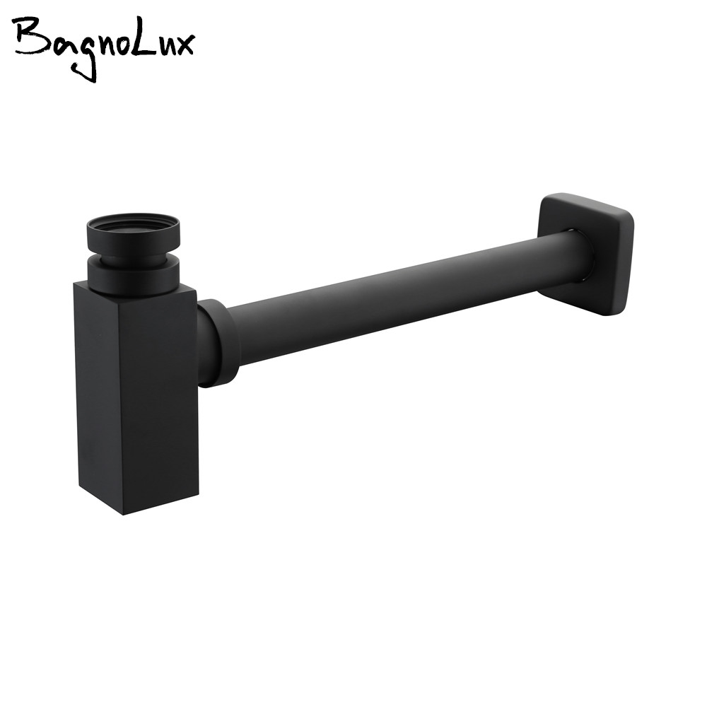 Matt Black P-Traps Wholesale Square Alba Old Style Vintage Brass Bottle Trap Basin Pop Up Waste Plumbing Tube Replacment
