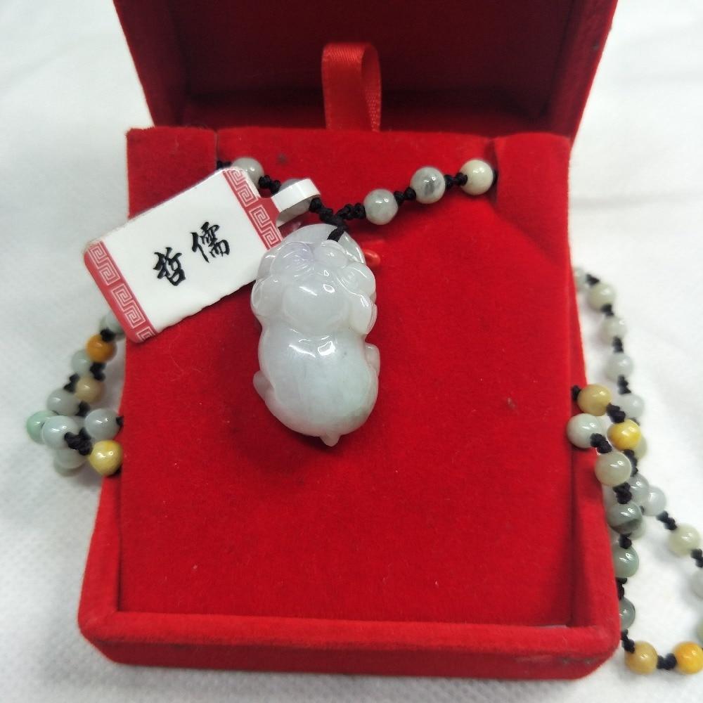Zheru Bijoux Pur jadéite naturelle Vert Clair de Porc Bébé Pendentif Trois-couleur Jade collier en perles Une Classe Un Certificat National