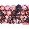 Бесплатная доставка, черные кружевные родонитовые бусины из натурального камня, нитка 15 дюймов, 4, 6, 8, 10, 12 мм, размер на выбор, изготовление б...