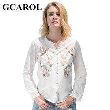 Gcarol 2017 Для женщин Цветочный Товары для птиц Вышивка блузка v-образным вырезом однобортный OL рубашка Мода Высокое качество Топы корректирующие женские