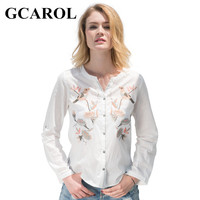 GCAROL 2017 Women Floral Birds Embroidery Blouse V Neck Single Breasted OL Shirt Fashion High Quality