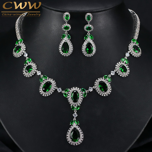 CWW Brand Round Big Crystal Drop Green CZ Necklace Earring Sets For Women Luxury Wedding Jewellery Sets For Brides T256
