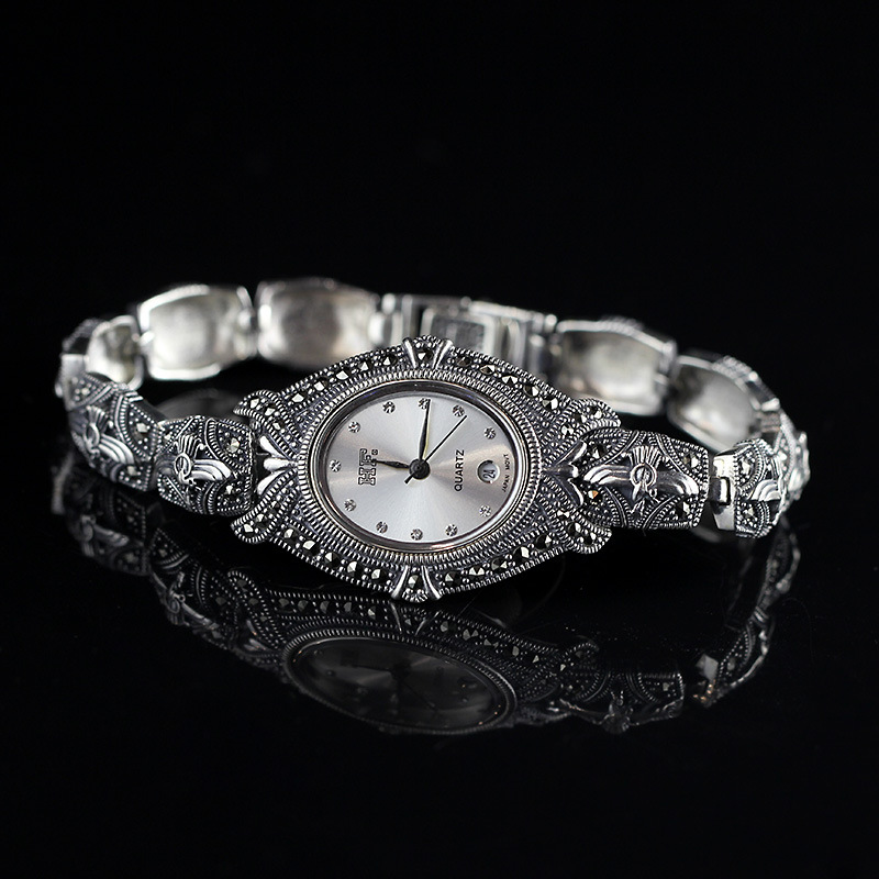 Limited Edition Classic Elegant S925 Silver Pure Thai Silver Bracelet Watches Thailand Process Rhinestone Bangle Dresswatch nokia 6700 classic gold edition