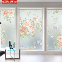 European color peony pattern electrostatic frosted glass film living room bedroom wedding room sliding door wardrobe glass film