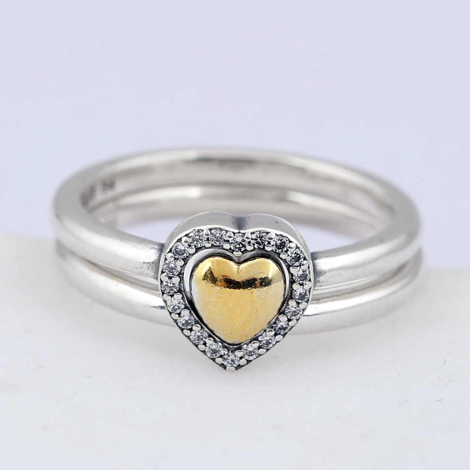 627cc0db7 ... Authentic 925 Sterling Silver Ring Heart Of Golden Puzzle Gift Set Rings  For Women Wedding Party ...
