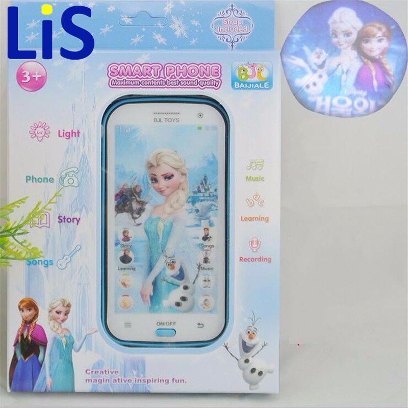 Lis Snow Queen Toy Phone Talking Princess Anna Elsa Phone Mobile Learning & Education Baby Mobilephone Electronic Kids Toys
