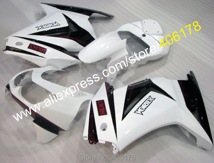 Hot Sales,Customized Ninja 250R Body works For Kawasaki ZX250R 2008-2012 White Black Sports Fairings Kit (Injection molding)
