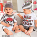 free shipping  retail male child casual short-sleeve T-shirt +baby boys shorts +hat triangle set for summer dr0006-45