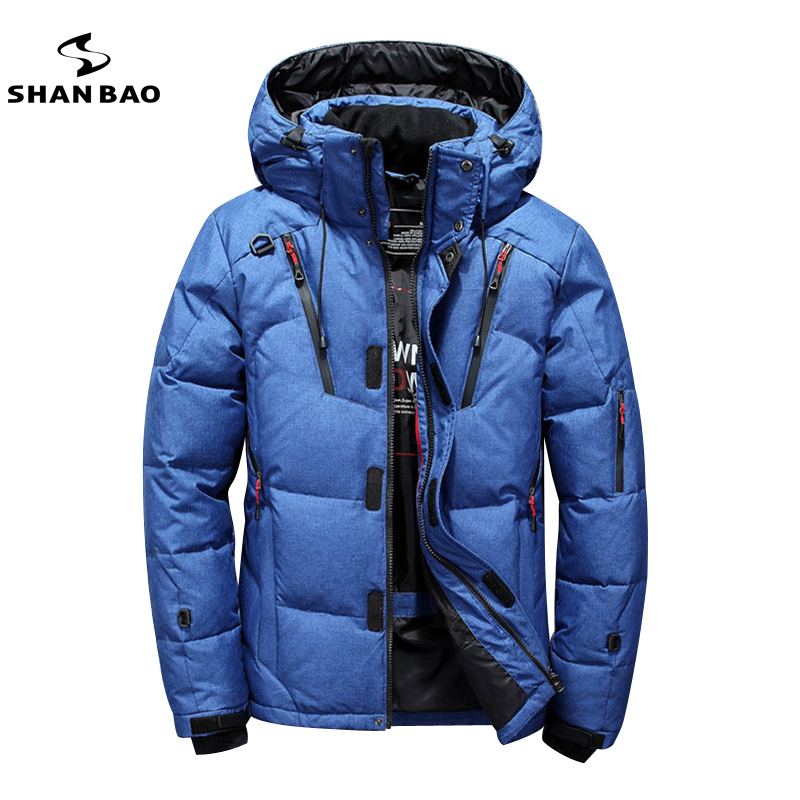 SHANBAO brand thick casual fashion down jacket black green blue orange winter warm white duck down men's hooded down jacket