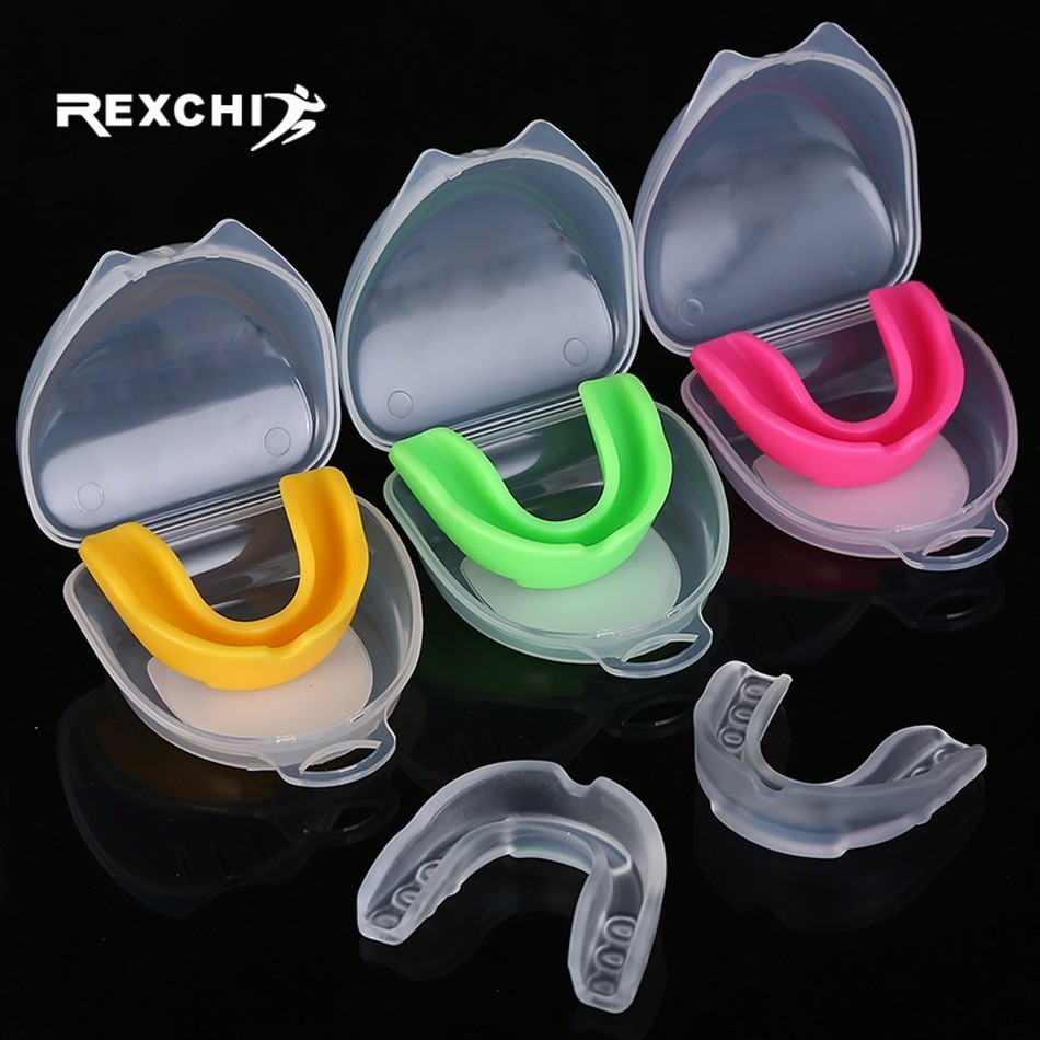 REXCHI Sport Mouth Guard EVA Teeth Protector Kids Youth Mouthguard Tooth Brace Protection For Basketball Rugby Boxing Karate