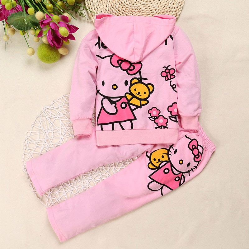 Hello kitty baby girl clothing set sports suit set children Christmas outfits girls tracksuit clothes T-shirt& pant 2017 summer new children baby girl clothing denim set outfits short sleeve t shirt overalls skirt 2pcs set clothes baby girls