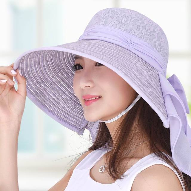 Fashion Anti-UV Long Brim Female Sunhat Adjustable Bow Knot Lady Outdoor Shade Sun Hat Spring And Summer Leisure Cap
