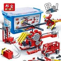 Дети мальчик игрушка 6901 Banbao просвещения Шестерни Электрический Мощность генерации машиностроения Конструкторы комплект образования DIY Ки