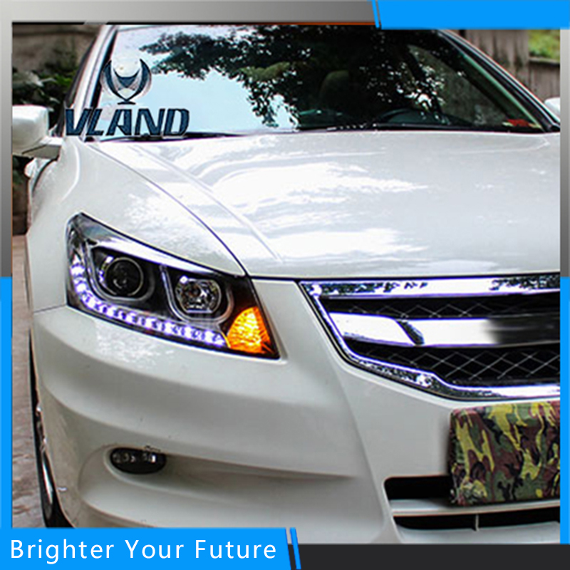 Car Styling Led Head lamp For Honda Accord 2008-2013 Headlight Assembly DRL Bi-Xenon Lens HID Automobile Accessorie free shipping for vland car head lamp for great wall h6 2011 2013 led headlight hid bi xenon headlamp with led drl plug and play