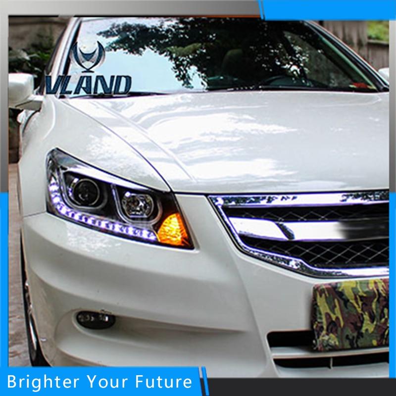 Стайлинга автомобилей светодиодный налобный фонарь для Хонда Аккорд 2008-2013 агрегата фары ДХО, биксеноновые линзы спрятал автомобиль аксессуары
