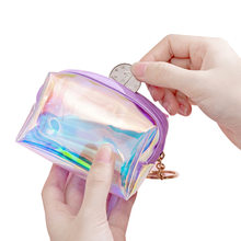 HUBOONE Laser Holographic Coin Purse Children Mini Wallet Women Zip Purses Portable Jelly Transparent Small Key Bag Lipstick Bag(China)