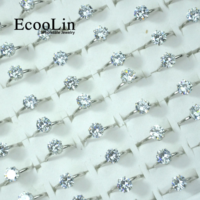 10Pcs EcooLin Jewelry Fashion 1.0 Carat Zircon Silver Plated Rings Lots For Women Bulk Packs LR4023