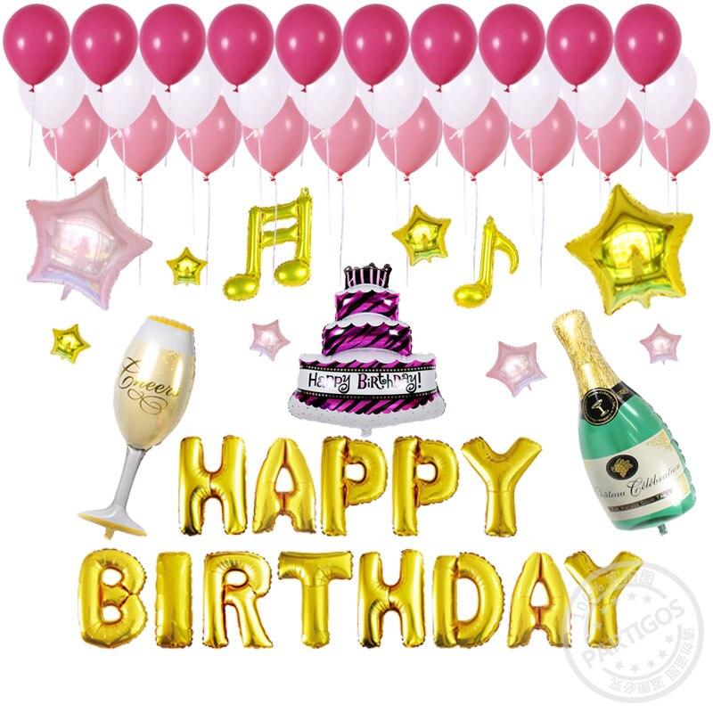 Verjaardag 56.Us 16 12 56 Stks Set Alfabet Verjaardag Letters Folie Ballonnen Latex Big Size Cake Champagne Cup Bierfles Globos Party Decor Levert In 56 Stks Set
