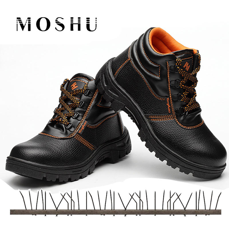 Safety Steel Toe Shoes Men Construction High Quality Work Shoes Comfortable Waterproof Indestructible Puncture Proof Boots
