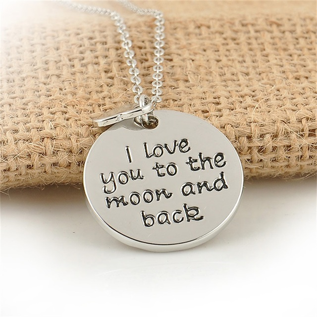 Heart Charms I Love You To The Moon And Back Pendant Necklace Family Women  Men Gifts Collier Chain Jewelry Party Choker Collar 127d6c25f