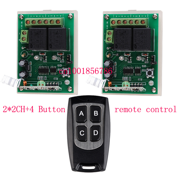 Free Shipping 12V 2CH RF Wireless Remote Control switch System Transmitter & 2Receiver for garage/applicance door