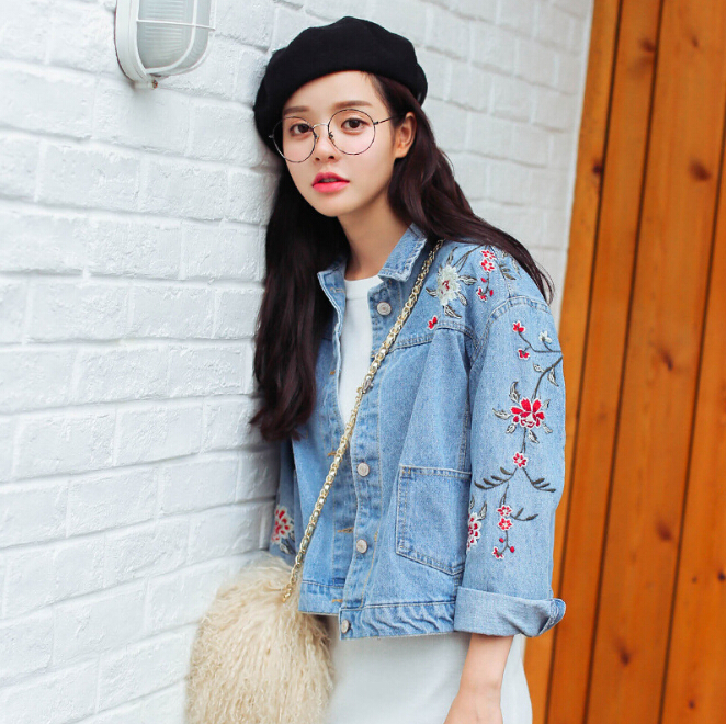 Hot Sale New Women S Loose Long Sleeved Jacket Embroidered Cowboy