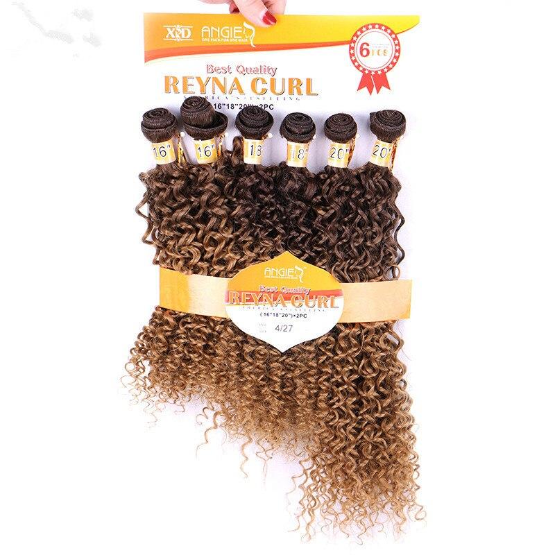 Юнис 6 шт./упак. Для женщин Ombre T4/27 Инструменты для завивки волос странный вьющихся волос утка Термостойкость Синтетические пучки волос плете...