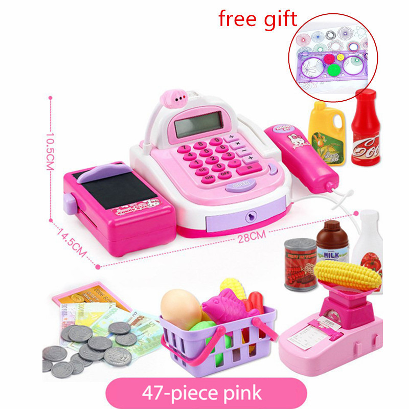 все цены на Pretend Play Toys Kids Supermarket Cash Register Updategrade Electronic Toys with Money Children Learning Education Pretend Toy онлайн