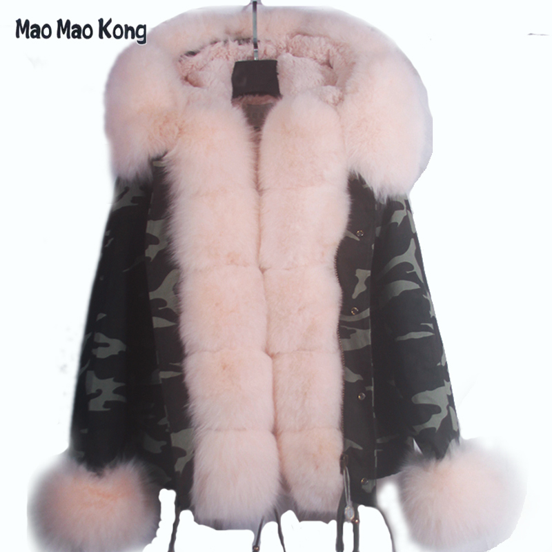 plus size 2017 new short Camouflage winter jacket women outwear thick parkas natural real fox fur collar coat hooded pelliccia plus size 2017 women outwear long camouflage winter jacket thick parkas raccoon natural real fur collar coat hooded pelliccia