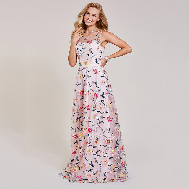 Dressv pink evening dress cheap scoop neck a line embroidery lace floor length wedding party formal dress evening dresses 3