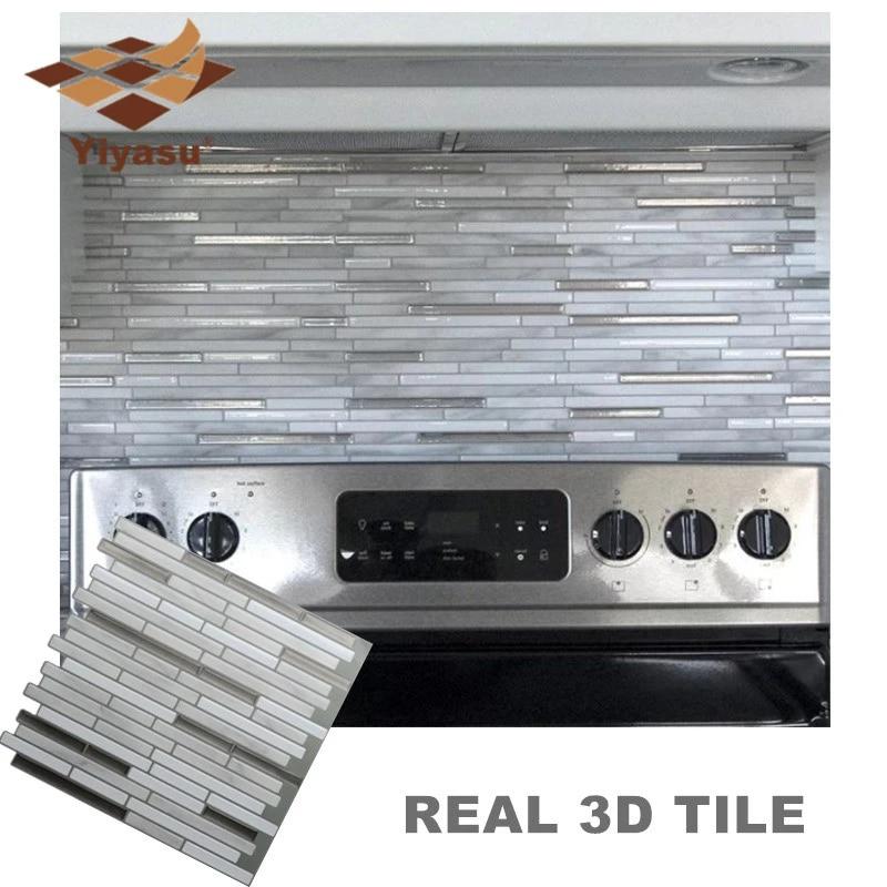 carrelage mural auto adhesif en mosaique de marbre blanc et gris autocollant mural en vinyle 3d pour cuisine salle de bain bricolage