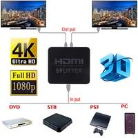 New Ultra HD 4K HDMI Splitter Full HD 3D 1080p Video HDMI Switch Switcher 1X2 Split