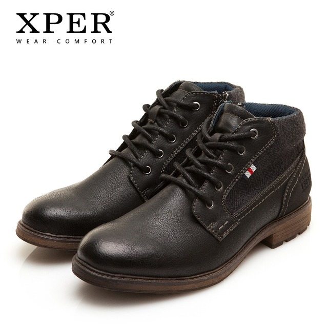 XPER сапоги бренда Для мужчин ботильоны модная зимняя обувь с круглым носком черные ботинки на молнии Для мужчин рабочая обувь мотоциклетные Ретро # XHY12503