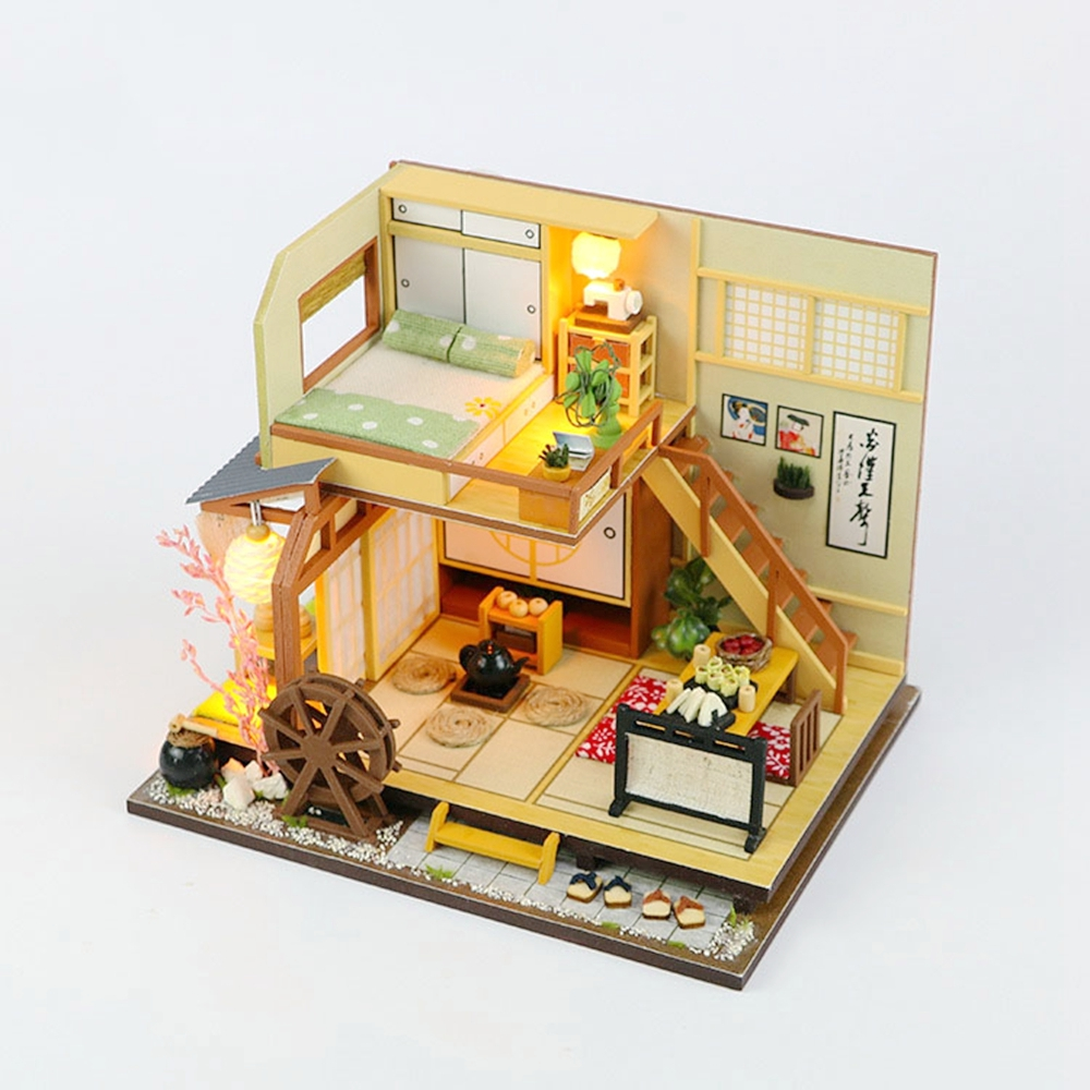 Doll House DIY Miniature Dust Cover 3D Wooden Toy for Children Birthday Gift