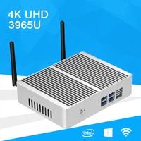 Mini PC Windows 10 4K UHD Intel Celeron 3965U Dual Core 2.20GHz Gigabit LAN Dual Storage mSATA 2.5 inch SSD HDD HDMI VGA WiFi
