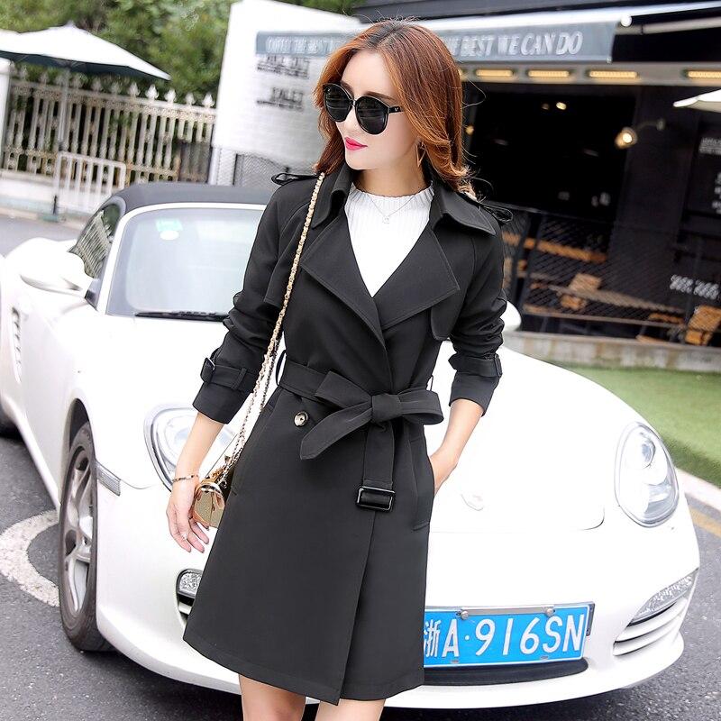 2018 Survêtement Tranchée gray Manteau Tnlnzhyn Solide black pink Pardessus vent Coupe Mode Taille Slim Couleur Printemps De Femelle Femmes Vêtements Grande Corée Beige ggZrq5W