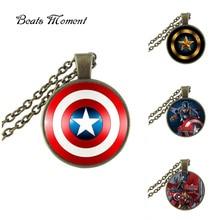 Капитан Америка Ожерелье B & M 2016 Новая Мода Круглые Стекло Ожерелье Капитан Америка Длинные Ожерелья Подвески Воротник