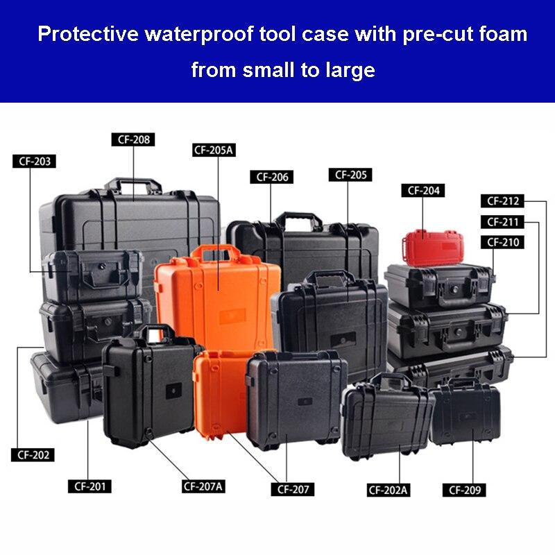 Caixa de Ferramentas de Segurança de Proteção à Prova Resistente ao Impacto Case de Ferramentas de Plástico com Espuma Dwaterproof Água Equipamento Mala Instrumento Pré-cortada