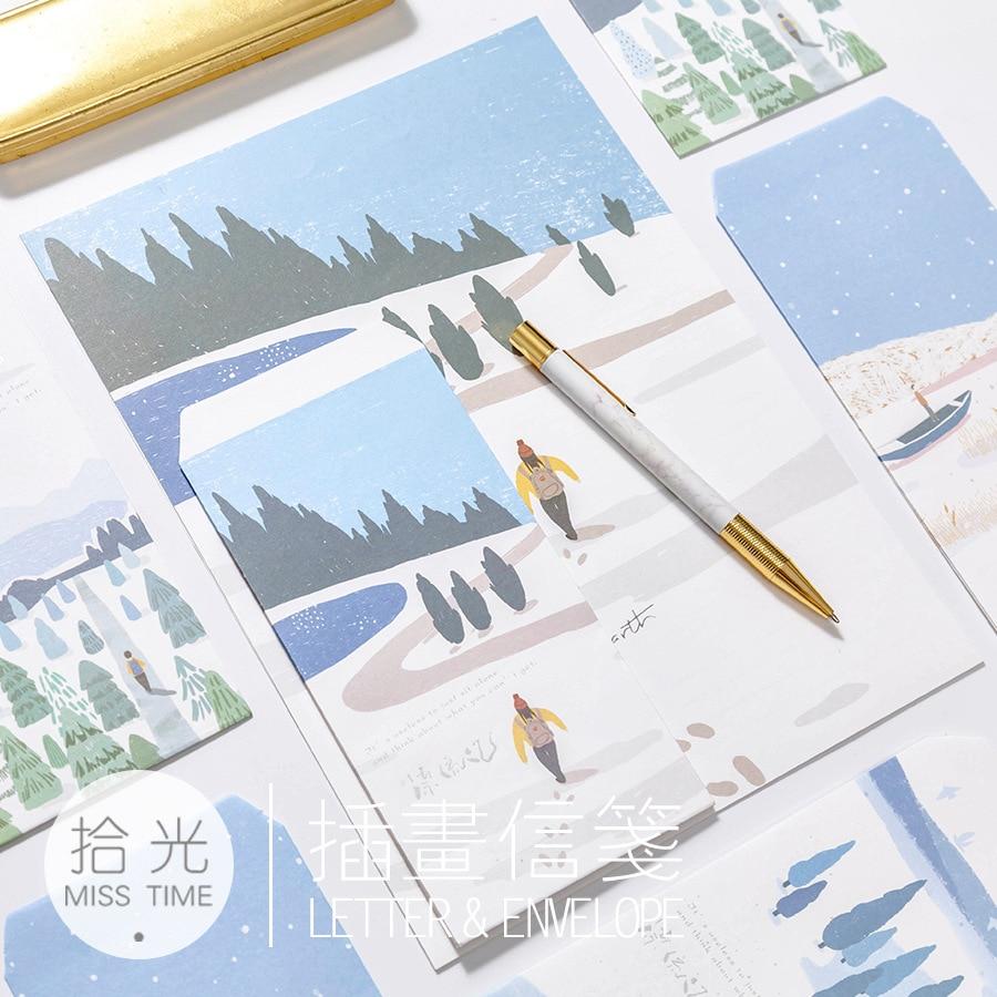 Paper Envelopes 9pcs/set 3 Envelopes+6 Sheets Letter Paper Creative Outdoor Crusoe Series Envelope For Gift Korean Stationery Office & School Supplies