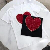 Летняя футболка с короткими рукавами Для женщин в форме сердца Женская футболка с вышивкой топ Повседневное женские рубашки топы
