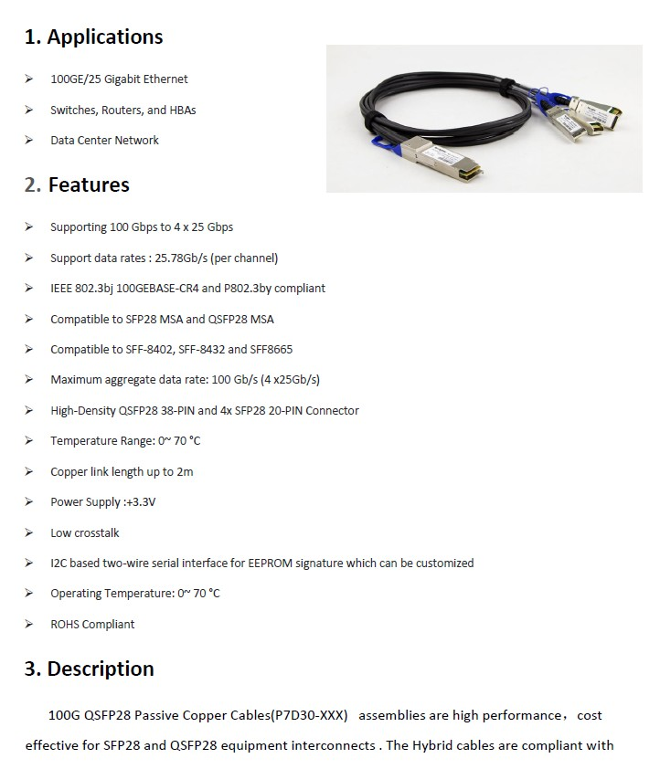 100Gb QSFP28 to 4SFP28(25G) 30AWG 1M Twinax Copper Cable,100G QSFP28 to  4*SFP28 DAC Passive Direct Copper Cables-in Fiber Optic Equipments from
