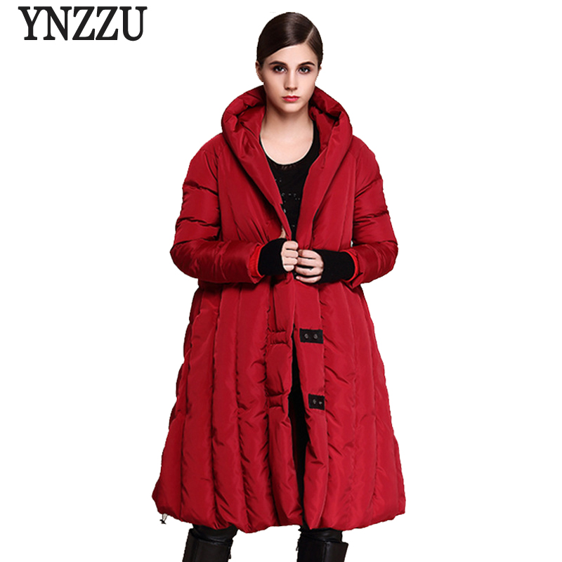 YNZZU Womens   Down   Jackets Chic Loose White Duck   Down     Coats   Hooded Warm Women Winter Jacket Plus Size 5XL 6XL 7XL AO358
