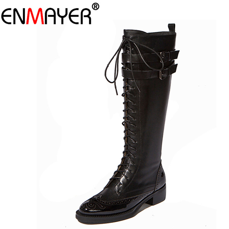 ENMAYER Lace-Up Med-Calf Round Toe Square High Heel Classic Black Shoes Women New Fashion Winter/Autumn Women Long Boots Platfom women ankle boots 2016 round toe autumn shoes booties lace up black and white ladies short 2017 flat fashion female new chinese