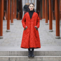 2016 Winter Women Folk style Padded Coat Long Sleeve V-neck Ladies Cotton Linen Plus size Overcoat Contrast Color