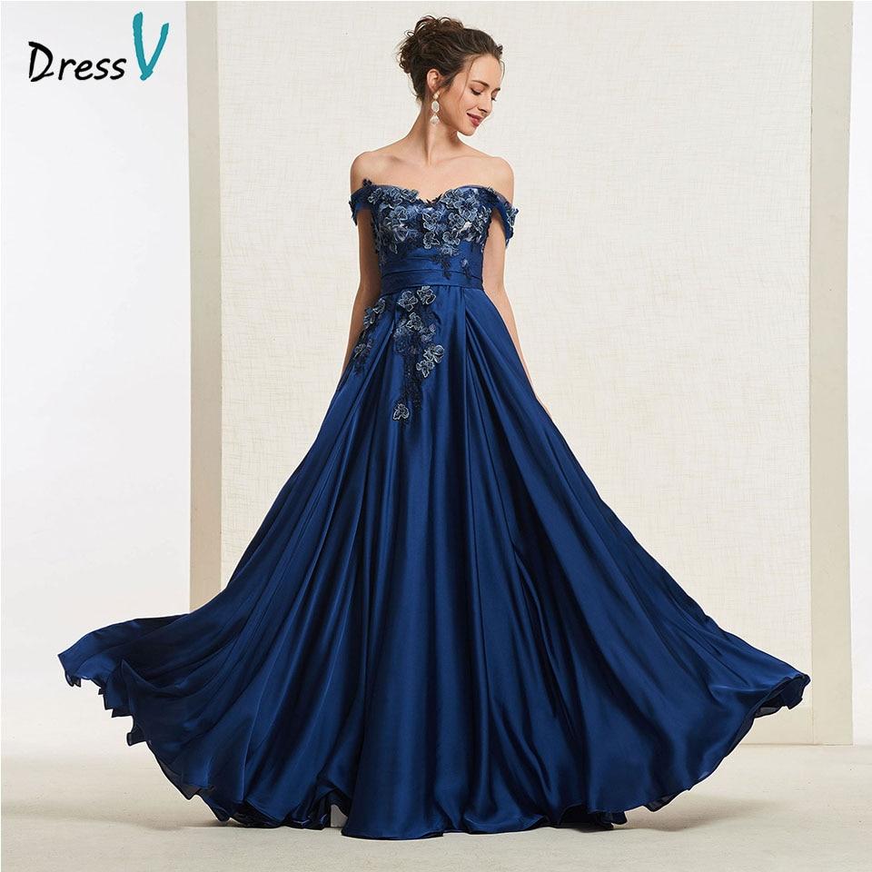Dressv Party-Gown Appliques Navy-Blue Evening Off-The-Shoulder Long Simple A-Line Floor-Length
