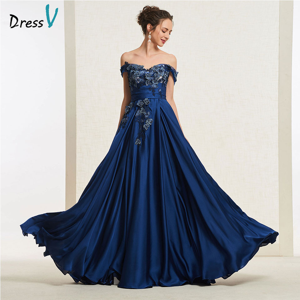 Dressv navy blue long   prom     dress   off the shoulder simple a line appliques zipper up floor length evening party gown   prom     dresses