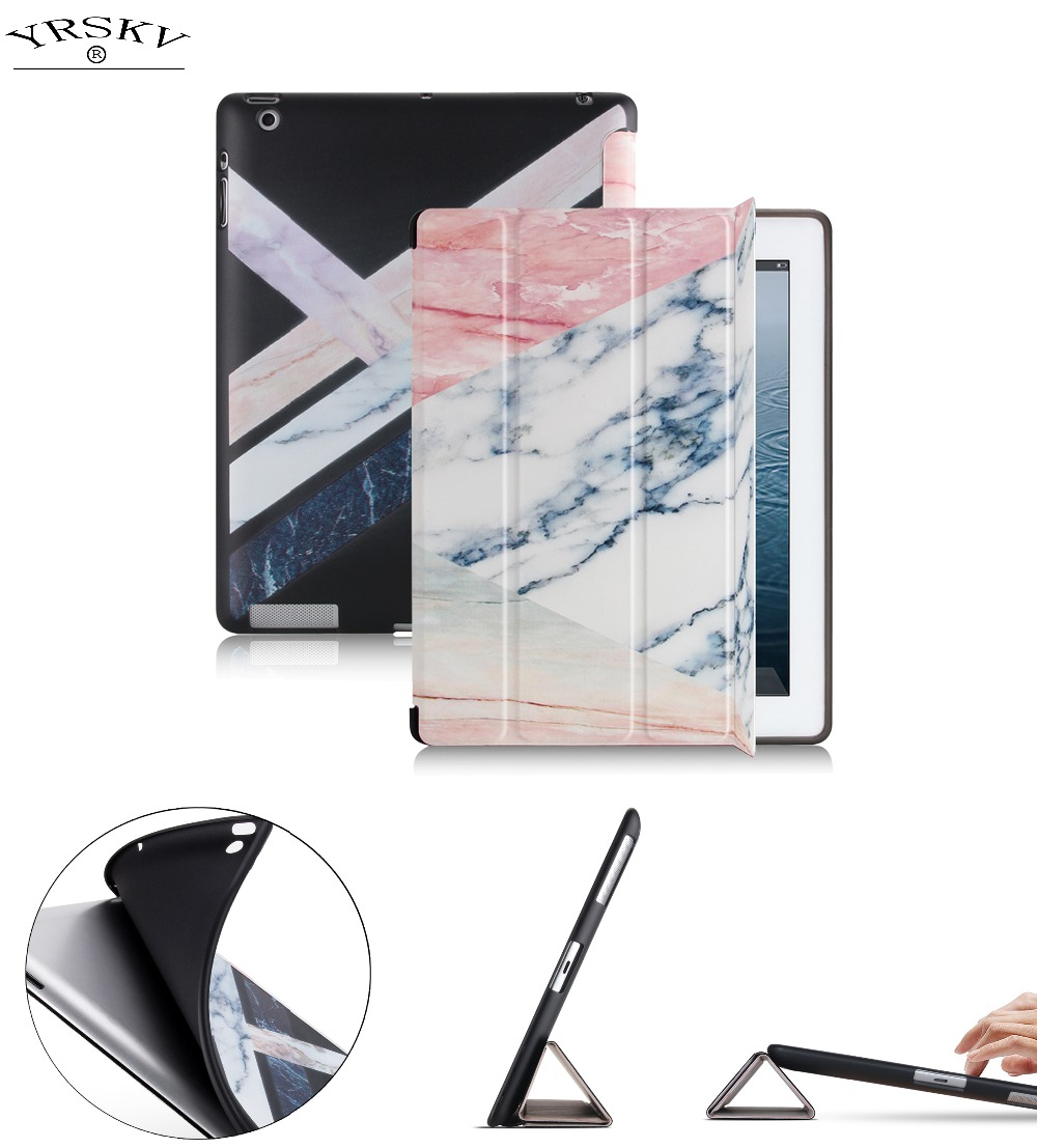 case for iPad 2 3 4 YRSKV Smart wake up sleep Marble Pattern Folding Stand cover TPU soft bottom Protective shell ...